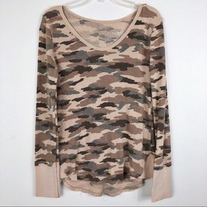 Free People Camo Waffle Knit Long Sleeve Thermal